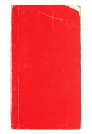 Old red cover book isolated over white