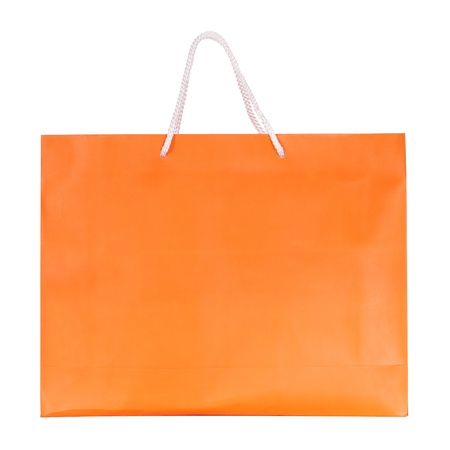 shopping bag: Orange shopping paper bag isolated on white with clipping path Stock Photo