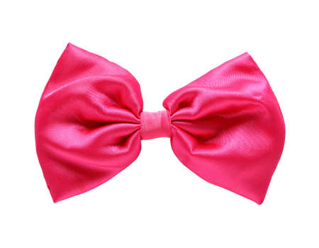 Red satin gift bow. Ribbon. photo