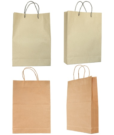 Brown paper bag set isolated on white photo