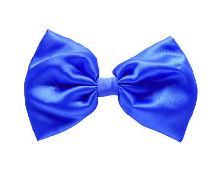 Blue satin gift bow  Ribbon  Isolated on white  photo