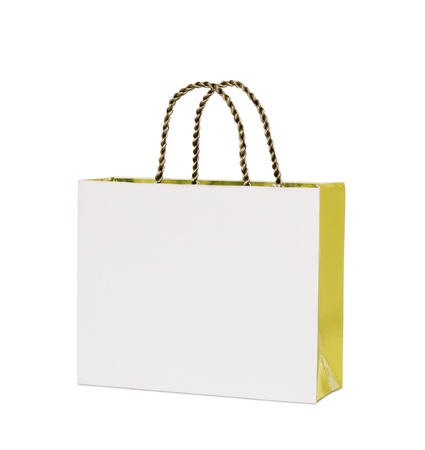 cardboard cutout: white paper bag isolated on white with clipping path Stock Photo