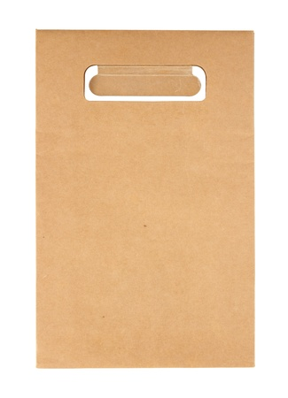 Brown paper bag isolated on white with clipping path photo