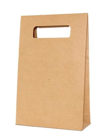 Sacchetto di carta marrone isolato su bianco con percorso di clipping