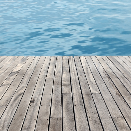 wooden floor and sea photo