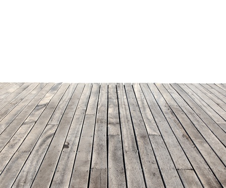 empty wooden floor isolated on white photo