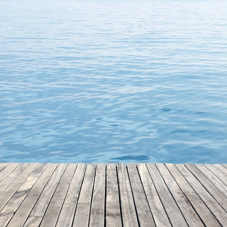 wooden floor and sea photo