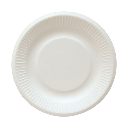 paper plates: Disposable paper plate isolated on white with clipping path Stock Photo