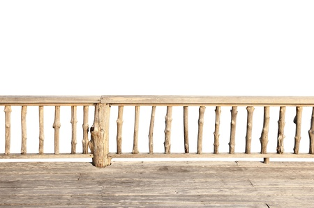 wooden terrace isolated on white background with clipping path photo