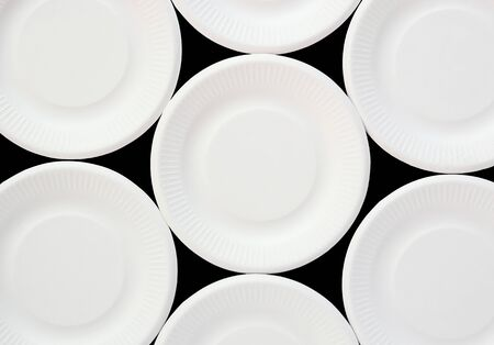 disposable: white disposable plate background Stock Photo