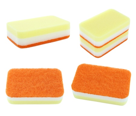 set of household sponge isolated on white background photo