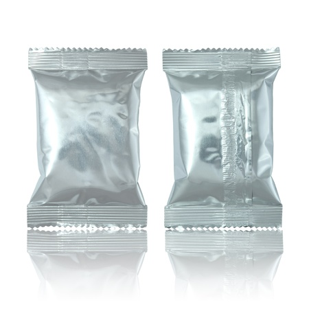 foil package bag isolated on white photo