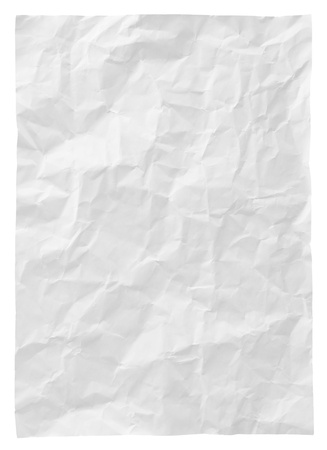 white crumpled paper isolated on white background photo