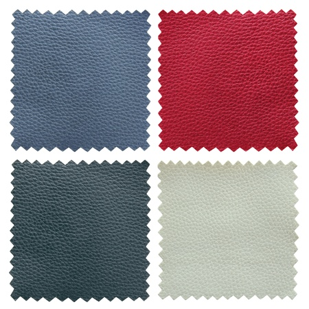 red leather texture: set of leather samples texture Stock Photo