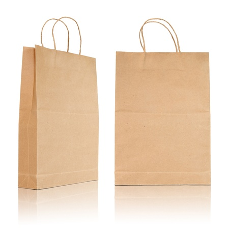 Brown paper bag on reflect floor and white background Stock Photo - 21612533