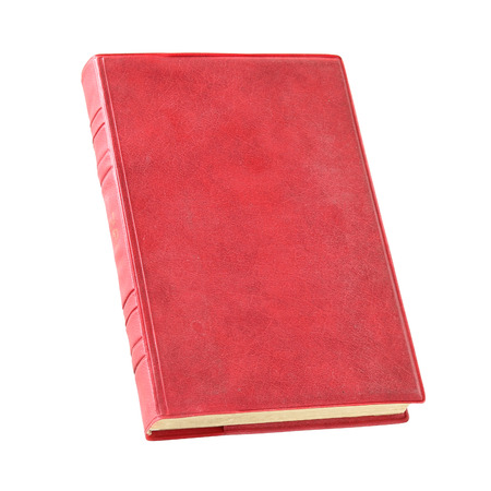 Old red book isolated over white with clipping path photo