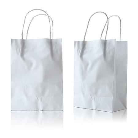 white paper bag on white background photo