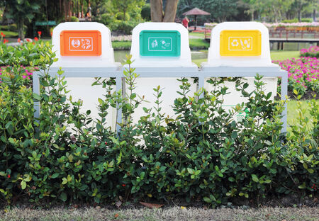plastic box: Recycle Bins In The Park