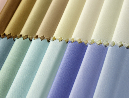 detail of color fabric texture samples photo