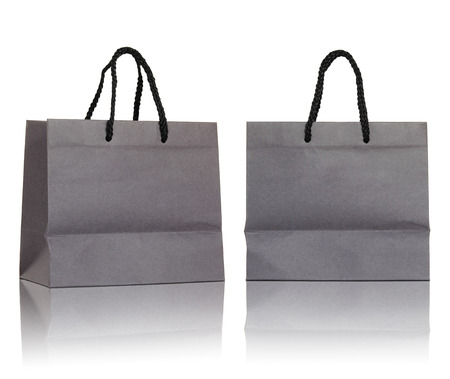 Gray paper bag on white background Stock Photo - 25862888
