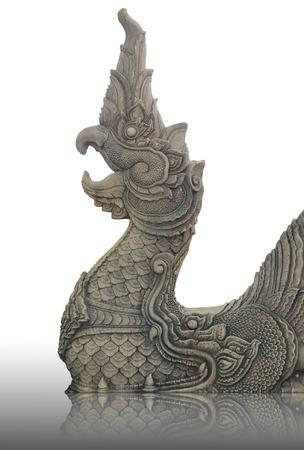 naga china: stone naga in Temple of Thailand on white background Stock Photo