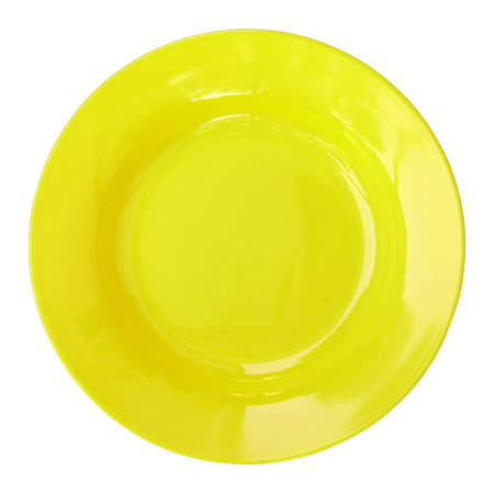 empty plate: yellow empty plate isolated on white