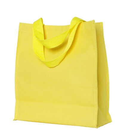 fabric bag: yellow canvas shopping bag isolated on white background
