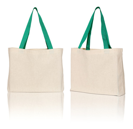 brown fabric bag on white background photo
