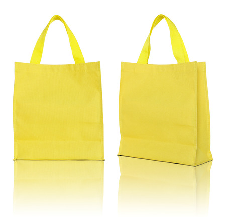recycle bag: yellow shopping bag on white background  Stock Photo