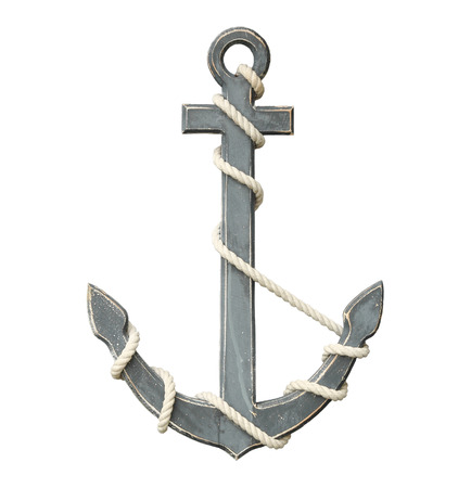 Old anchor isolated on white background with clipping path