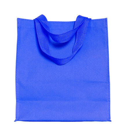 recycle bag: blue cotton bag isolated on white with clipping path