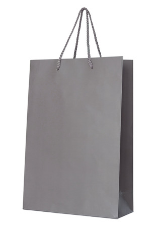 Gray paper bag isolated on white with clipping path. Stock Photo