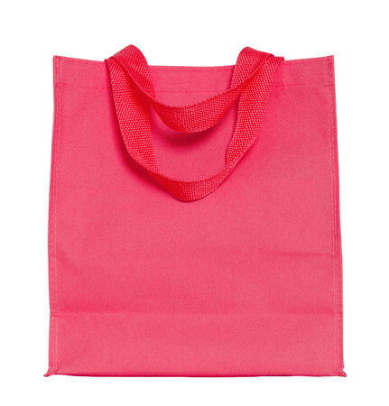 reusable: red cotton bag isolated on white with clipping path Stock Photo