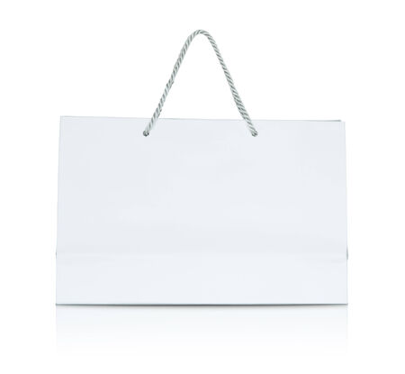 White paper shopping bag. Stock Photo