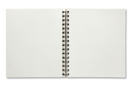open spiral notebook isolated on white background. Stock Photo