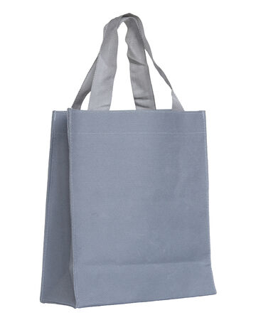 reusable: gray canvas bag isolated on white background with clipping path Stock Photo
