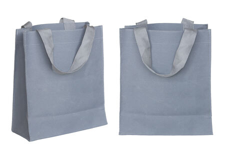 gray canvas bag isolated on white background with clipping path. Stock Photo