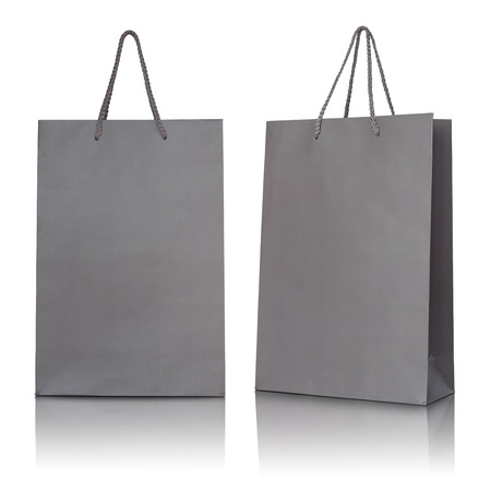 Gray paper bag on white background. Stock Photo