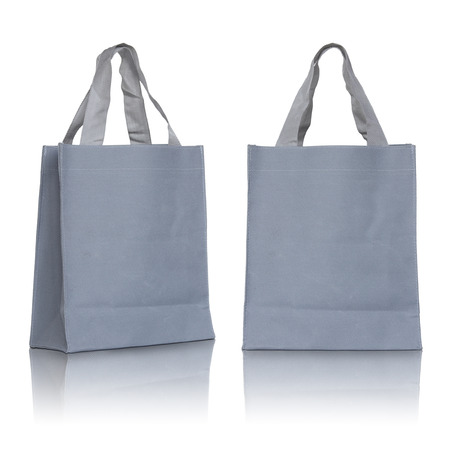 fabric bag: Gray canvas bag on white background Stock Photo