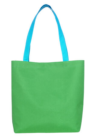 Green shopping fabric bag isolated on white Stock Photo - 31059294
