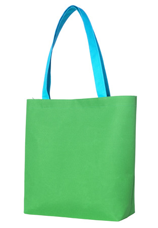 fabric bag: Green shopping fabric bag isolated on white