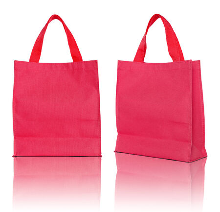 recycle bag: red shopping bag on white background  Stock Photo