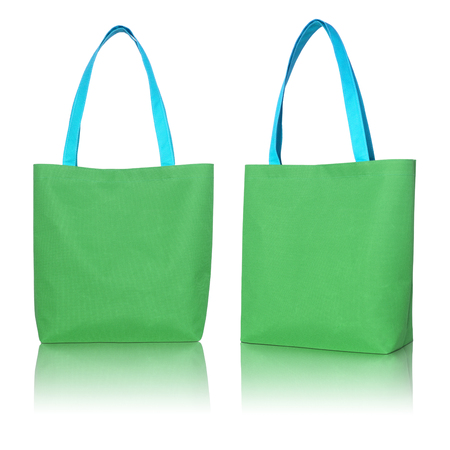 fabric bag: green shopping fabric bag on white background  Stock Photo