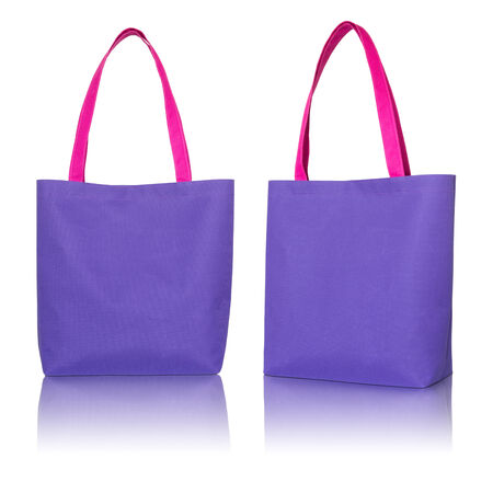 reusable: blue shopping fabric bag on white background