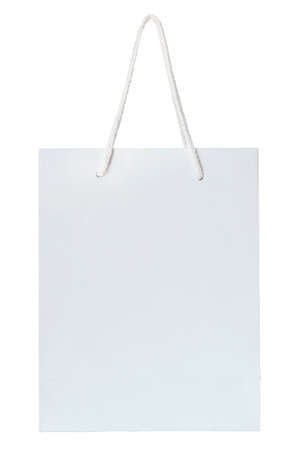 white paper bag isolated on white with clipping path Stock Photo