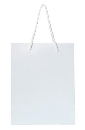 witte papieren zak geïsoleerd op wit met het knippen van weg