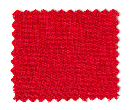 white fabric texture: red fabric swatch samples isolated on white background Stock Photo