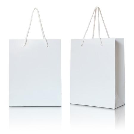witte papieren zak op een witte achtergrond Stockfoto