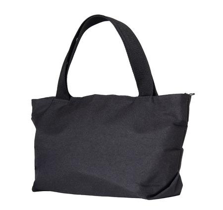 black cotton bag isolated on white background