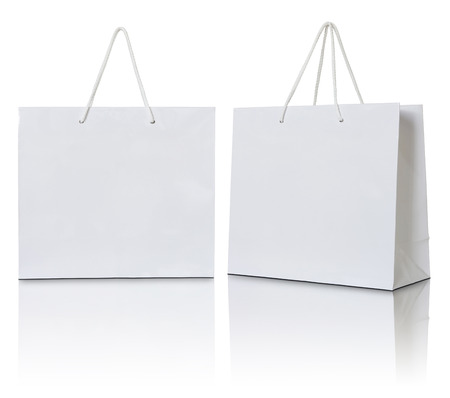 white paper bags on white background 스톡 콘텐츠